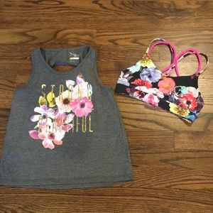 Girls old navy tank and sports bra